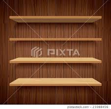 wood bookshelves on brown wood wall