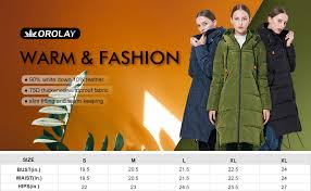 Orolay Women S Thickened Down Jacket Size Chart Orolay Womens Thickened Contrast Color Drawstring Down