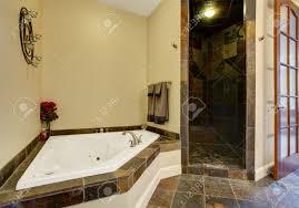 Pavimento Scuro Bagno : Interno bagno con pavimento di piastrelle scuro e doccia
