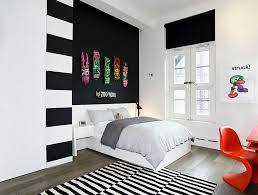 view in gallery teen bedroom in black and white with panton chair in orange black grey white bedroom