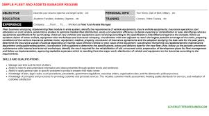 Fleet And Assets Manager Resume Cover Letter Cv Letters