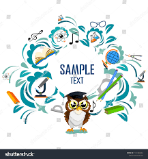 Back To School Invitation Template Back School Color Background Owl Vector Stock Vector Royalty Free