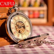 popular caifu watch buy cheap caifu watch lots from caifu silver classic steampunk r dial mechanical skeleton steel mens white windup pocket watch spider men fans