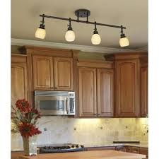 replace fluorescent light in kitchen with track lighting and add small lights under the cabinets bronze track lighting