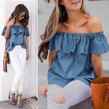 New Fashion <b>Women's Summer Off Shoulder</b> Ladies Loose Casual ...