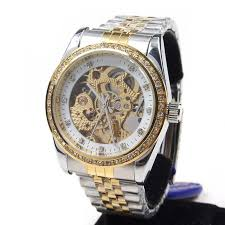 aliexpress com buy male diamond cutout fully automatic aliexpress com buy male diamond cutout fully automatic mechanical skeleton watch steel strip mens watch high fashion gold and silver color from reliable