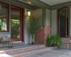red front door on brick house. Entryway - Mid-sized Traditional Ceramic Floor And Gray Idea In DC Metro Red Front Door On Brick House A