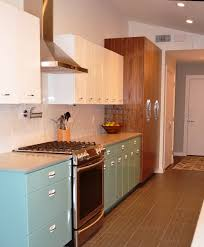 Simple Retro Metal Kitchen Cabinets On Small Home Remodel Ideas