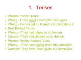 common errors from diagnostic essays tenses present perfect  tenses present perfect tense wrong i have went correct i have