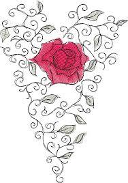 Romantic Embroidery Designs Embroidery Design Rose Heart Romantic