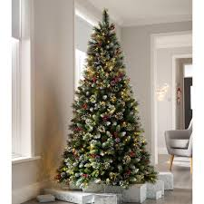 Christmas Tree Cone With Lights Pre Lit Victorian Snow Berries Cones Christmas Tree With 260