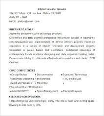 Interior Designer Resume Template. Free Download