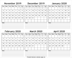Free Printable April Calendar 2020 November 2019 To April 2020 Printable Calendar Editable