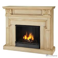 the 46 harvey gel fireplace is coated in a rich ivory cream finish that is