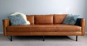 mid century leather sofa. Interesting Leather Midcentury Style Axel Leather Sofa From West Elm On Mid Century Leather Sofa H