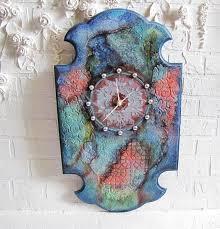 large long wall clock grunge colorful