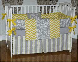 yellow and grey chevron baby bedding
