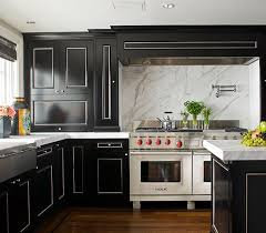 Glossy Black Cabinet Kitchen With White Lining And Marble Backsplash
