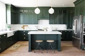 <b>elegant dark green</b> kitchen cabinets apron sink wood flooring #dark ...