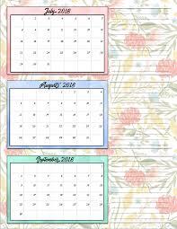 Calendar Quarters July 2018 Calendar Quarter Calendar Printable Template