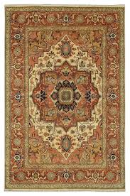 details about original 10x14 ivory rust rug made by hand serapi wool area rug