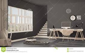 scandinavian home office. Scandinavian Home Office, Loft Workplace, Minimalist Interior De. Monochrome, Nordic. Royalty-Free Stock Photo. Download Office H