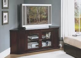 dark brown oak wood corner tv stand with glass doors of dazzling