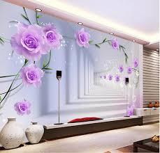 room elegant wallpaper bedroom: elegant photo wallpaper custom d wall murals purple flowers wallpaper kids bedroom modern interior design room
