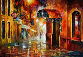 Painting Canvas Under One Umbrella Palette Knife Oil Painting On Canvas By