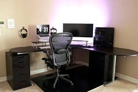 ... Desk, Amusing L Shaped Computer Desk Ikea Kitchen And Dining Room With  Black Table And ...