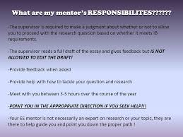 the extended essay workshop ppt  what are my mentor s responsibilites