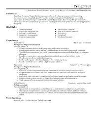 Certification Resume Sample Computer Repair Technician Resume Sample