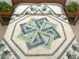 Star Spin Quilt -- splendid meticulously made Amish Quilts from ... & Batik Neutrals and Green Star Spin Quilt Photo 1 ... Adamdwight.com
