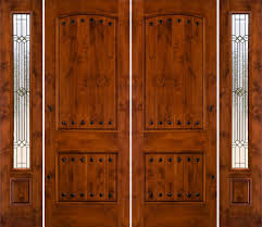Exterior. Wooden Double Entry Doors Having Nails Accent Combined ...