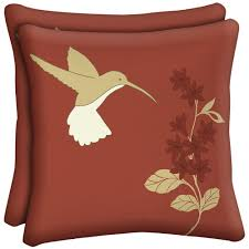 hampton bay hummingbird square outdoor throw pillow 2 pack