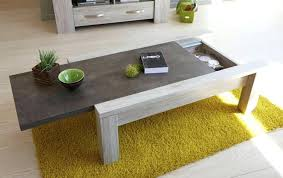 coffee table in grey oak wood with concrete top and extra large modern storage