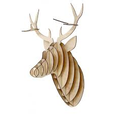 plywood stag head wall mounted deer trophy hurn and hurn