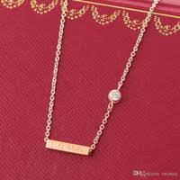 whole rose gold costume jewelry love square pendant with singel cz diamond rose color