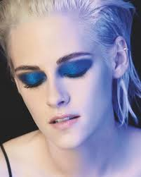 actress kristen stewart wears blue eyeshadow in chanel makeup caign