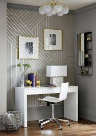 wallpaper for office wall. Step-by-Step DIY Metallic Linear Wallpaper | Modern Masters Silver Paint CB2 For Office Wall I
