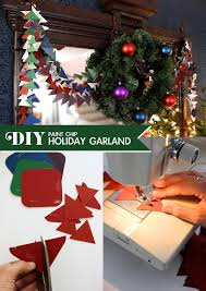 diy paint chip holiday garland by mandy pellegrin of fabric paper glue