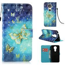 Butterfly Magnetic Flip <b>PU Leather Wallet</b> Case for Moto E5 Moto E5 ...