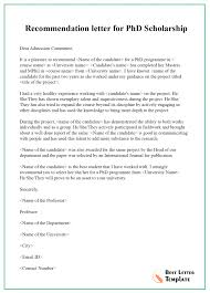 Recommendation Letter For Scholarship Format Sample Example