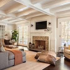 Transitional Living Room Design Gorgeous Fireplace TV Niche Transitional Living Room Garrison Hullinger