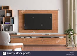Wooden Tv Set Design Tv Screen On The Wall With Wooden Plate Above The Cabinet In