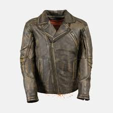 men s brown distressed leather police jacket extreme biker wear