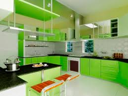 Interior Decoration Of Kitchen Kitchen Lovely Green Kitchen Wall Design With Wood Kitchen Set