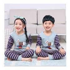 Bộ mặc ở nhà dài tay in hình ngựa vằn cho bé trai và bé gái từ 3 - 10 tuổi  - Đồ bộ bé gái Thương hiệu OEM