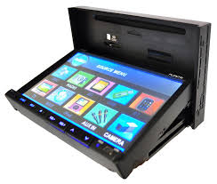 pyle pldn73i 7 inch double din tft touchscreen dvd vcd cd mp3 mp4 lcd screen slides down revealing cd and memory card slots
