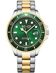 amazon co uk green wrist watches men watches so co new york men s quartz watch green dial analogue display and silver stainless steel fob watch